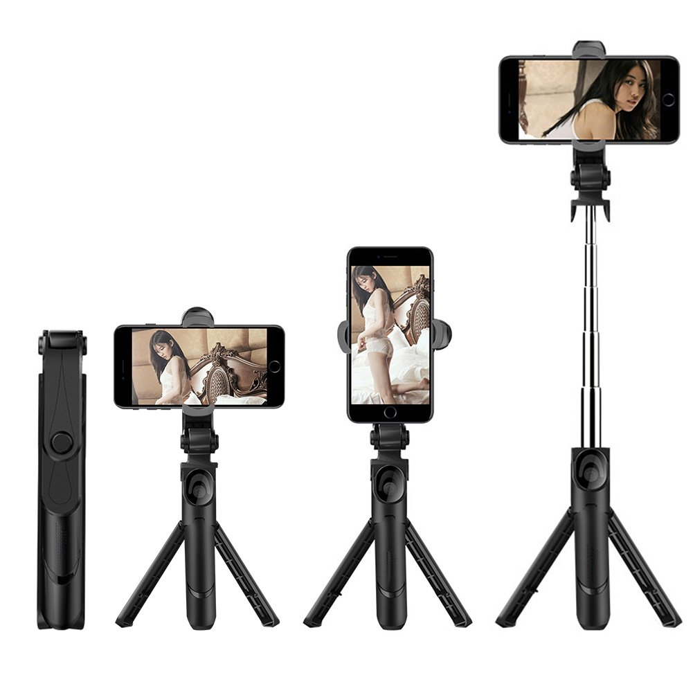 Foraco Tripod Selfie Stick, Apply to X / 8/7 / 6 / 6S Plus Android Samsung S9 S8 S7 Plus Edge 4 in 1 Mini Pocket Expandable unipod with Wireless Remote Control 360 Degree Rotation, Black