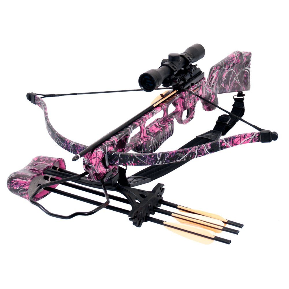 SA Sports Fever Muddy Girl Recurve Crossbow (Pink) w 4x32 Scope, Quiver, & 12 Extra Bolts (Total 16 included) by SA Sports (Image #2)