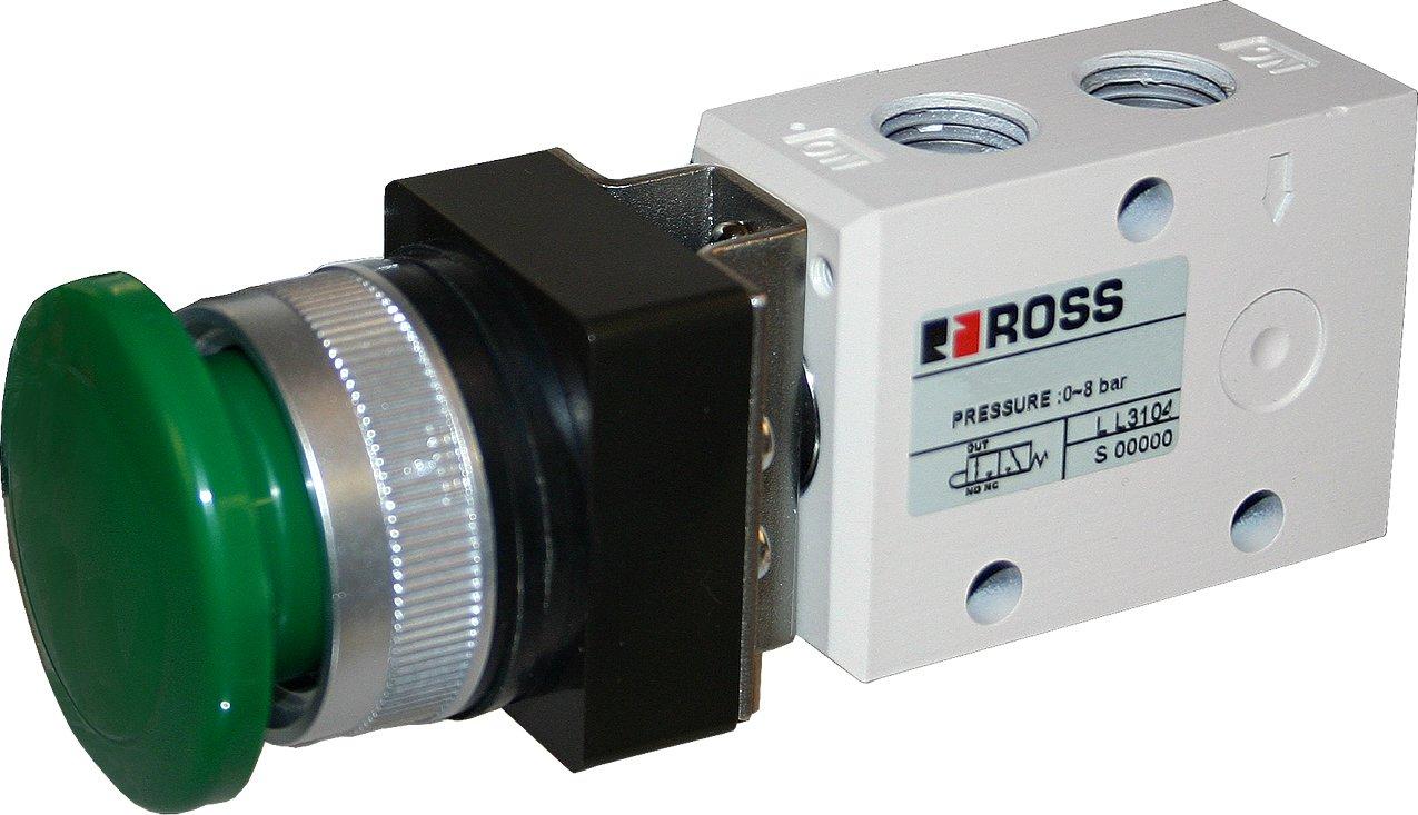 Ross Controls 1223B1MBG 12 Series Mushroom Pushbutton, 3/2 Single Spring Return, Green, 1/8 NPT