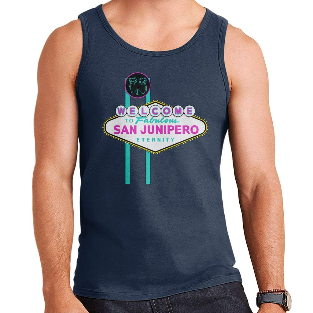 Black Mirror Welcome to San Junipero Sign Mens Vest
