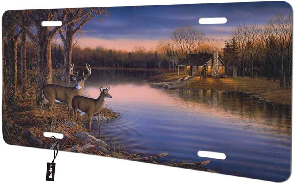 Beabes Deer in The Forest Front License Plate Cover, Tree Birch Lake River Cute Animals Wildlife Cabin Decorative License Plates for Front of Car Vanity Plate for Men Women Alumium 6x12 Inch