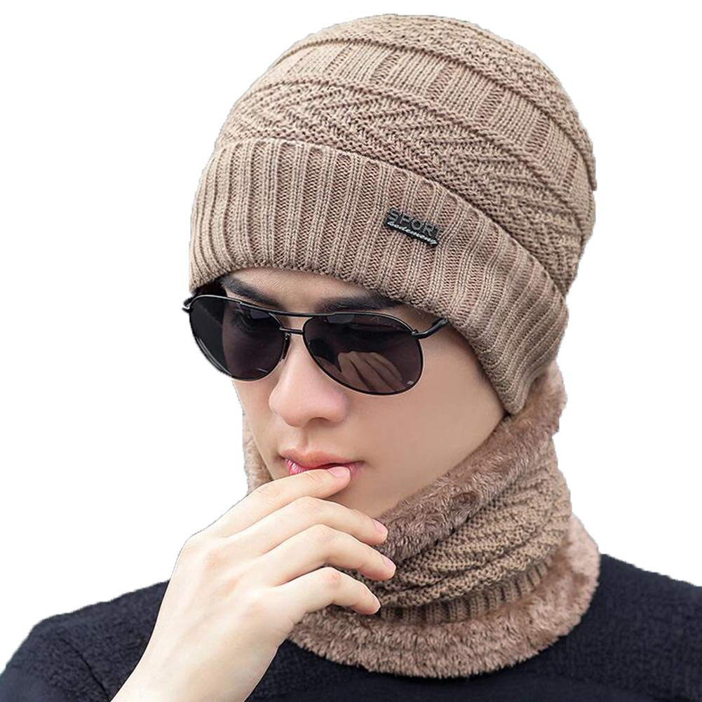24fc3e6c538 XUERUI Hats Caps Hat and Scarf Set Warm Winter Knitted Men Boy Stylish  Beanie Hat Soft Lining Ski Bicycle Outdoor Sport (Color   Beige