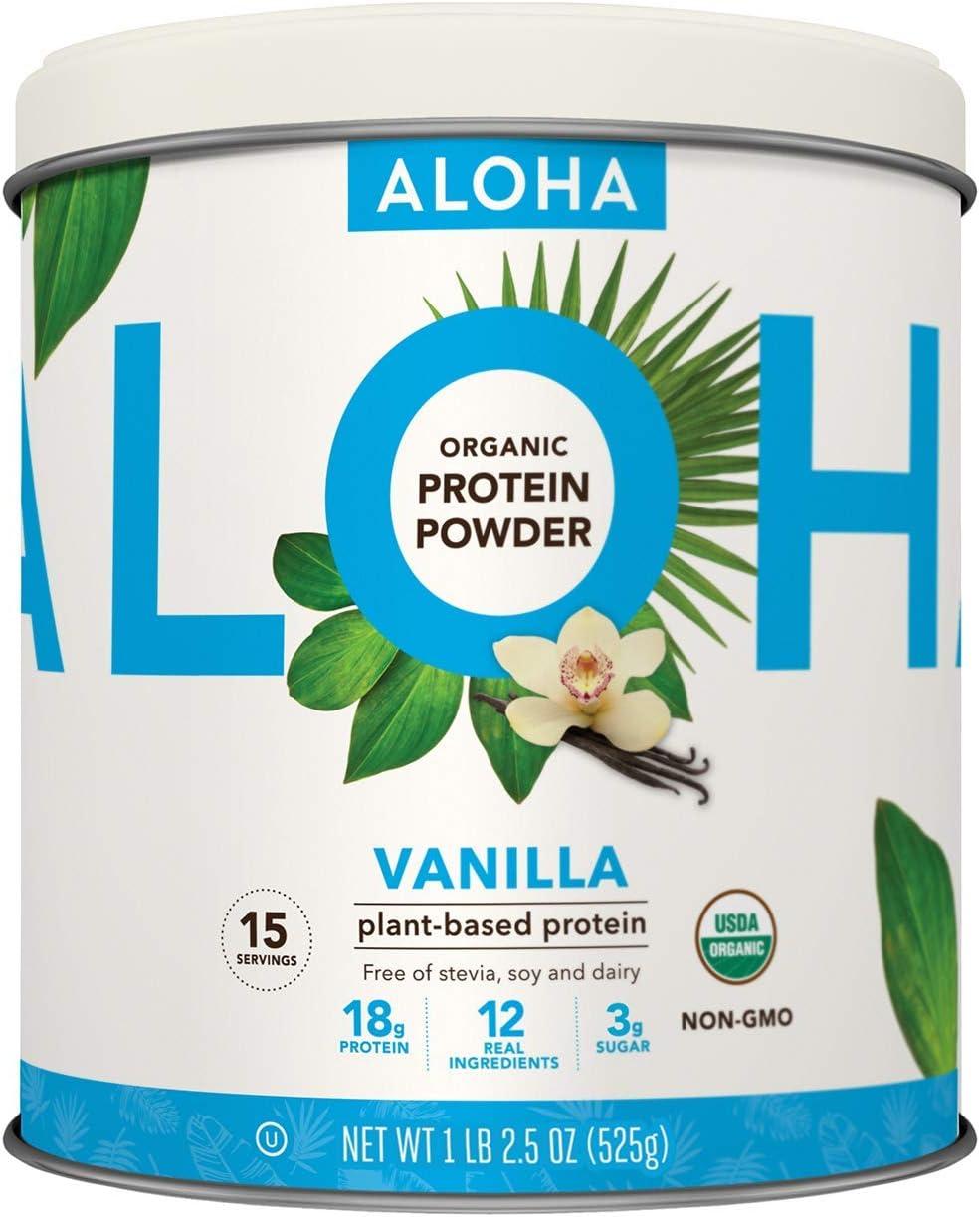Plant-Based Protein Powder   Organic Vanilla Keto Friendly Vegan Protein with MCT Oil, 18.5 oz, Makes 15 Shakes, Vegan, Gluten Free, Non-GMO, Stevia Free & Erythritol Free, Soy Free, Dairy Free & Only 3g Sugar: Health & Personal Care
