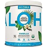 ALOHA Organic Plant-Based Protein Powder - NO-STEVIA Vanilla - Keto Friendly Vegan Protein with MCT Oil, 18.5 oz, Makes 15 Sh