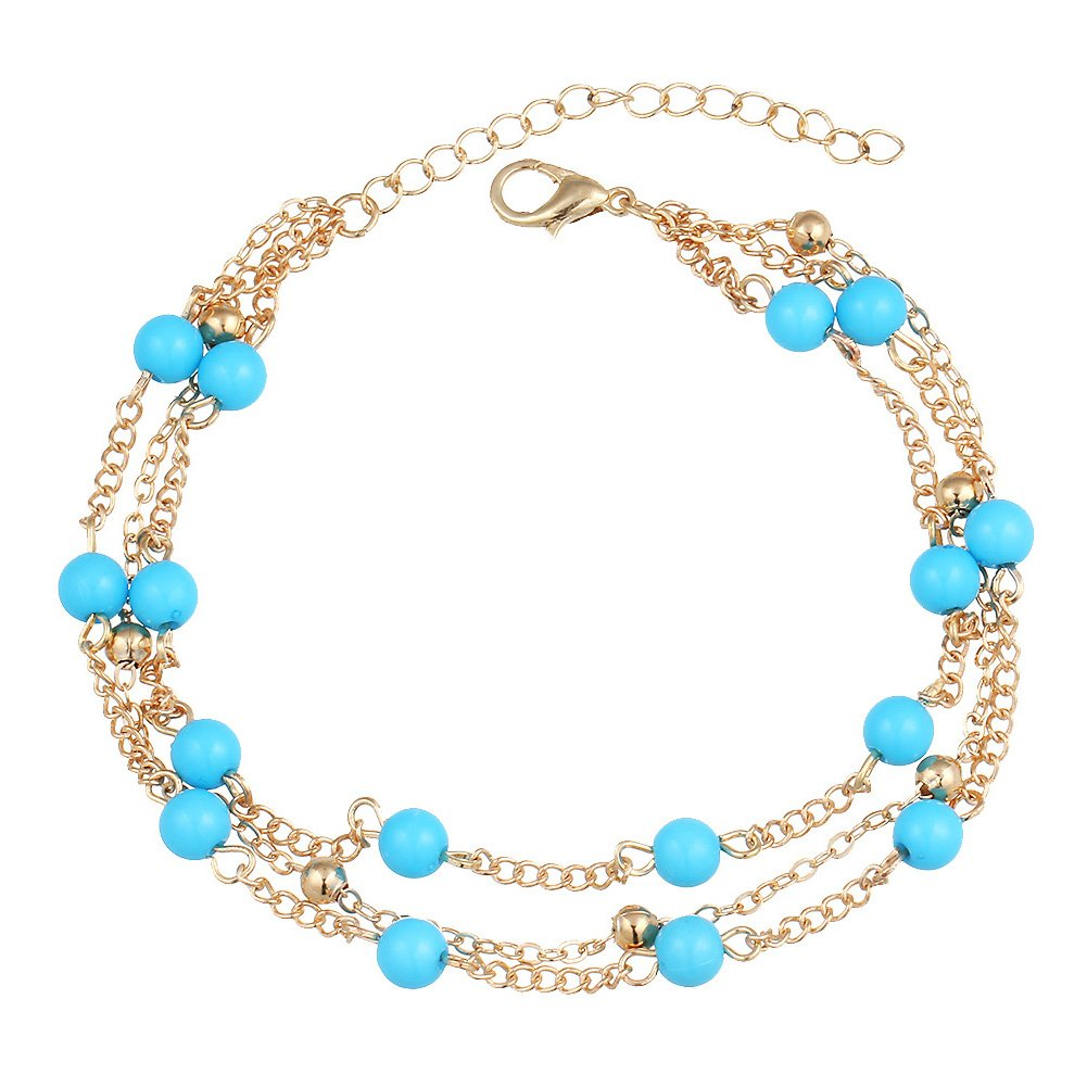 Fashion Jewelry~ Blue Beads Gold-Tone Anklet