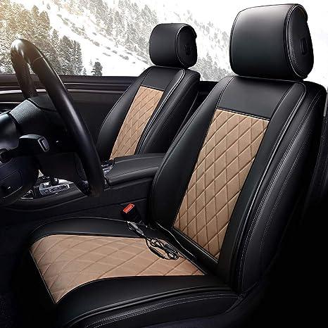 Auto Sitzheizung Heizkissen Winter beheizt warm hoch niedrig Temperatur 12V beheizter Sitzbezug Heizung sicher und sch/ützen Sie Ihre Taille Black Beige,Single Connector