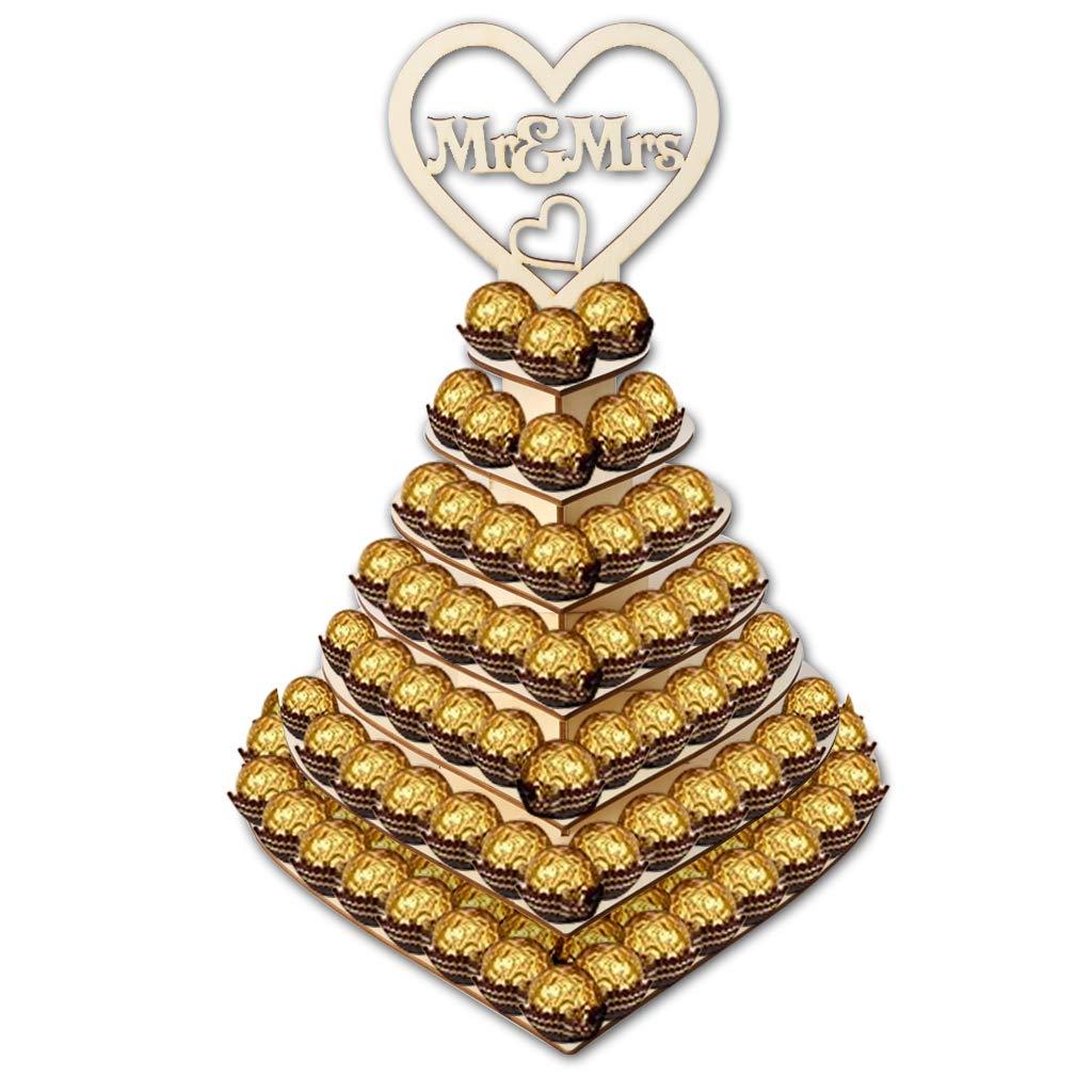 Soporte de 7 Niveles con Forma de coraz/ón Personalizable con dise/ño de pir/ámide de Mr /& Mrs Ferrero Rocher para Bodas postres Driidudur Dulces y Chocolate