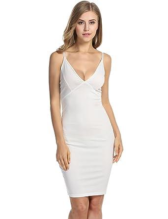 acfa688c6ddb Meaneor Women's Rayon Bodycon Strap Sleeveless Bandage Dress, White/M