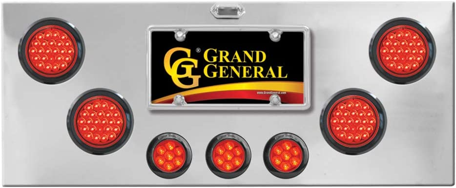 U Bracket GG Grand General 91590 Red//Clear Chrome Plated Light Panel with 4 inches and 2-1//2 inches Pearl LED