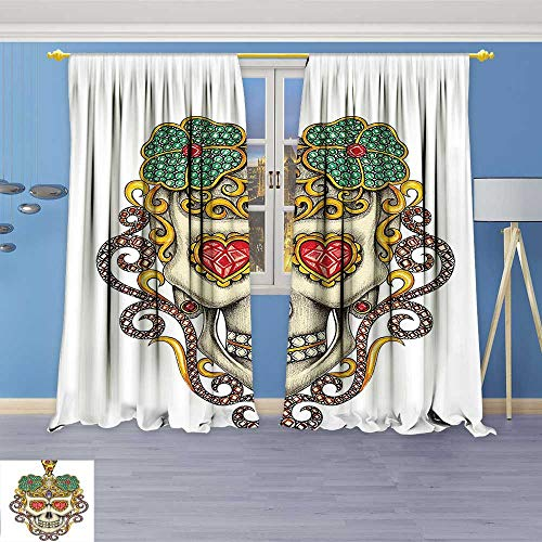 (2 Panel Set Digital Printed Window Curtains The Dead Decor Sugar Skull with Heart Pendants and Floral Jewelry Print White for Bedroom Living Room Dining Room)