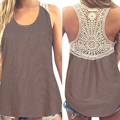 Gillberry Women Summer Lace Vest Top Short Sleeve Blouse Casual Tank Top T-Shirt (Khaki, S)