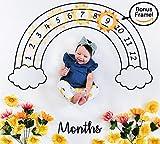 Baby Milestone Blanket & Bonus Monthly Marker | Premium Fleece 47'' x 47'' | Wrinkle-Free | Newborn Photography Prop by HAAPY HA HA