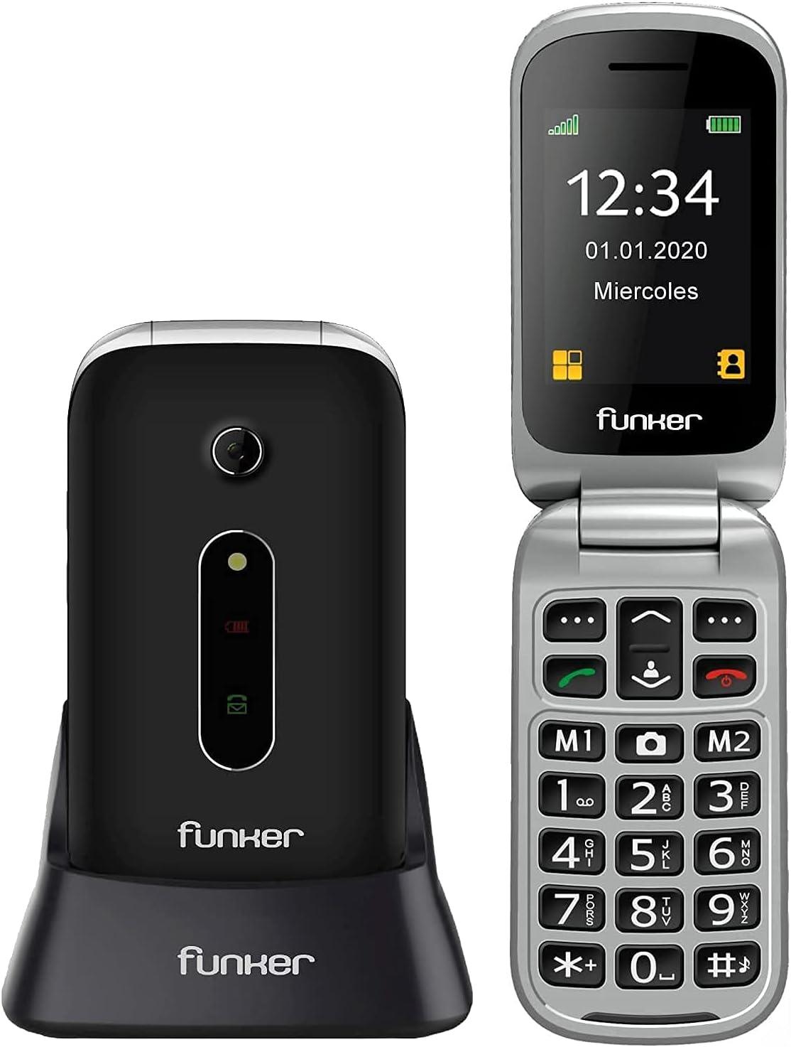 Funker C75 EASY COMFORT - Teléfono Móvil con Tapa, Fácil Uso para Personas Mayores con Botón SOS y Base Cargadora, color Negro