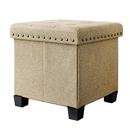 Charmant Storage Stool Practical Ottoman Cube Box Upholstered Footrest Multifunction  Cloth Footstool Single Seat With Removable Lid