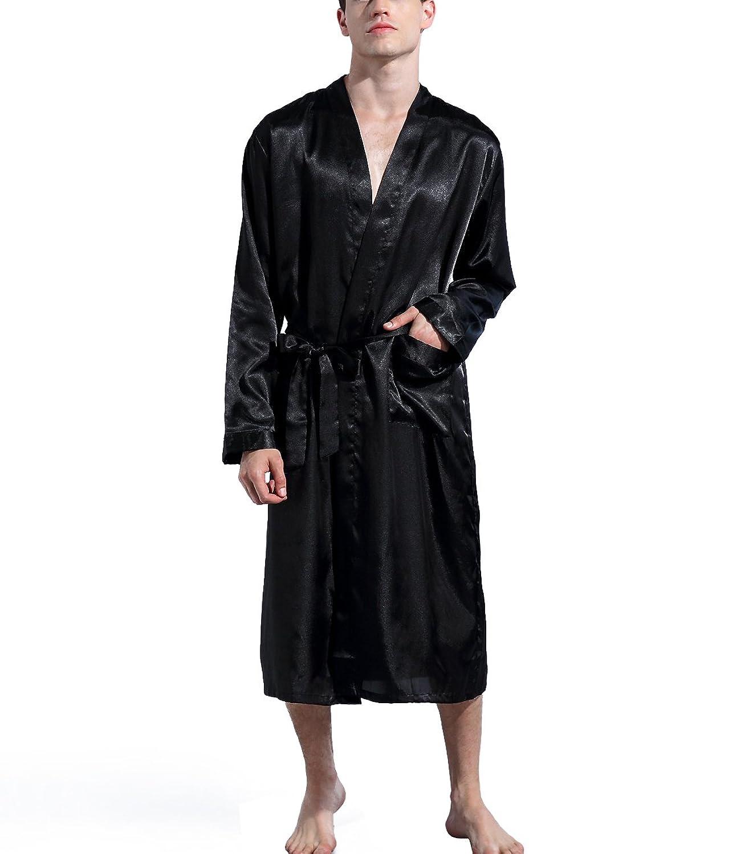 Admireme Men's Satin Kimono Robe Spa Bathrobes Loungewear Sleepwear Long Bathrobe Lightweight Silk Nightwear