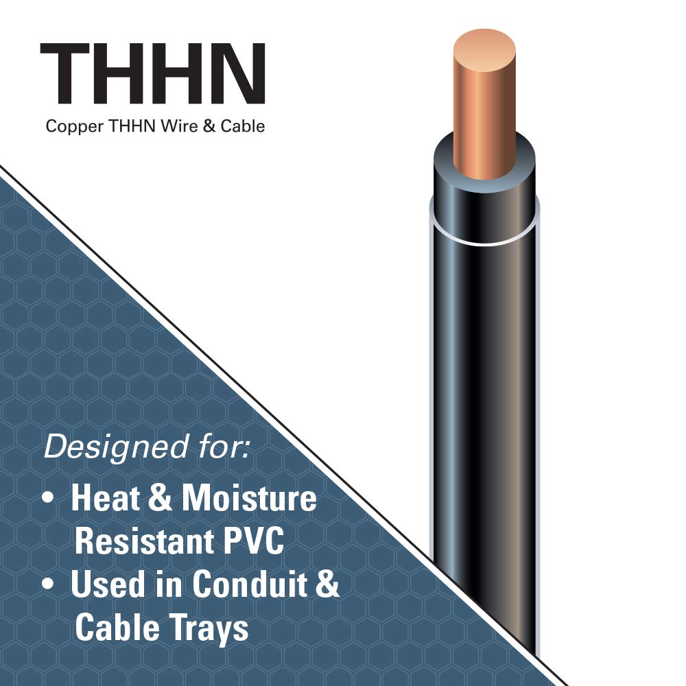 Southwire 11587337 50\' 12 Black Solid THHN Wire - - Amazon.com