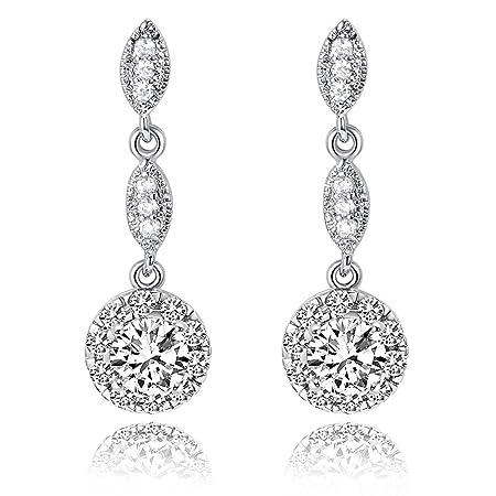 iMing Fashion Earrings Round-Cut Cubic Zirconia Stud Dangle Earrings Jewelry Gift 1Z5lDqz
