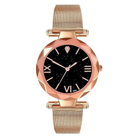 Loolik Relojes Pulsera Mujer,Caja de Cristal de Moda de Acero Inoxidable Caja de Malla Correa de Reloj (Oro Rosa): Amazon.es: Relojes