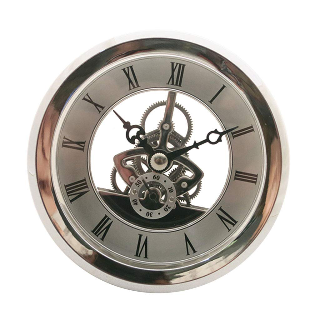 Fityle 4 Pieces Clear Skeleton Insert Clock Movement Quartz Battery Fit Up 91mm Silver Roman Dial by Fityle (Image #10)