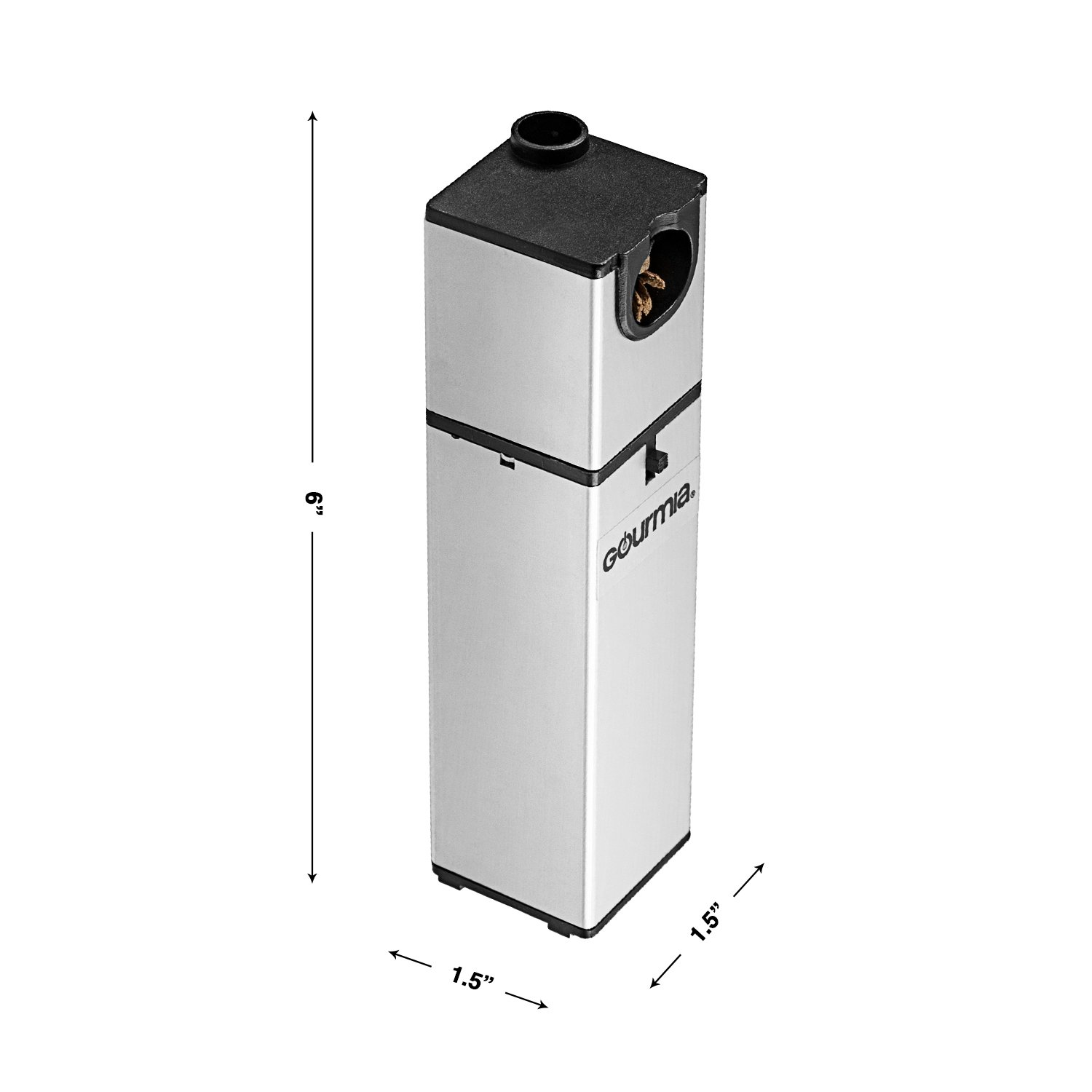 Gourmia GSM160 Portable Infusion Smoker Cool Smoke to Enhance Taste - Battery Operated - Compact & Convenient - Silver - Free E-Recipe Book Included