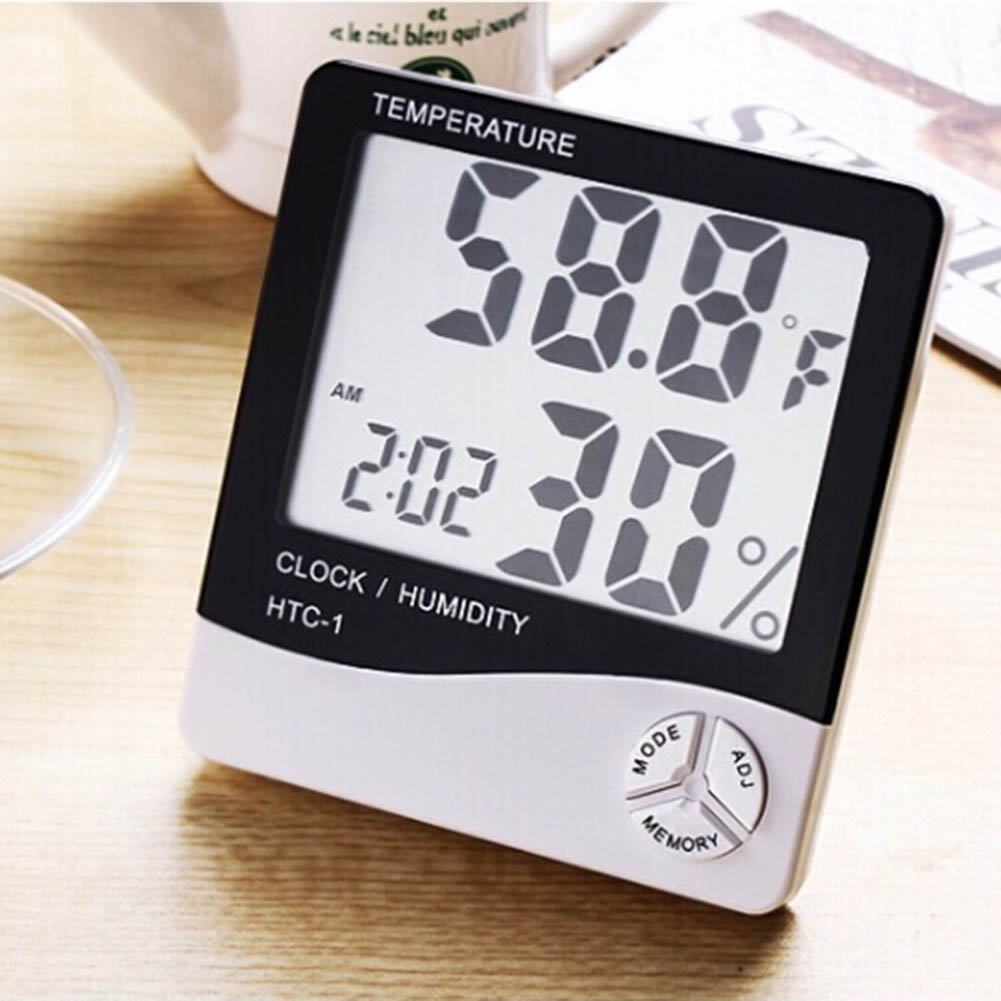 Sbarden Indoor Hygrometer Thermometer Greenhouse Babyroom Temperature Humidity Gauge Meter Car Office Large LCD Displa Digital Humidity Monitor Multifunctional Weather Station Monitor Sensor Room Thermometer for Home