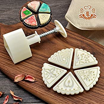 Cookie Press Cookie Stamp Cake Cutter Moon Cake Mold with 5 Stamps - Mid Autumn Festival DIY Mooncake Decoration 50g