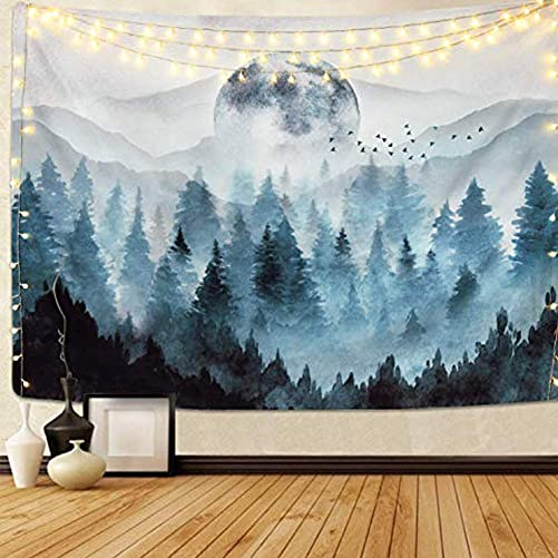 MAYPIE Mountain Tapestries Magic Tree Wall Hanging Trippy Woodland Wall Fabric 80 x 59.1 inches