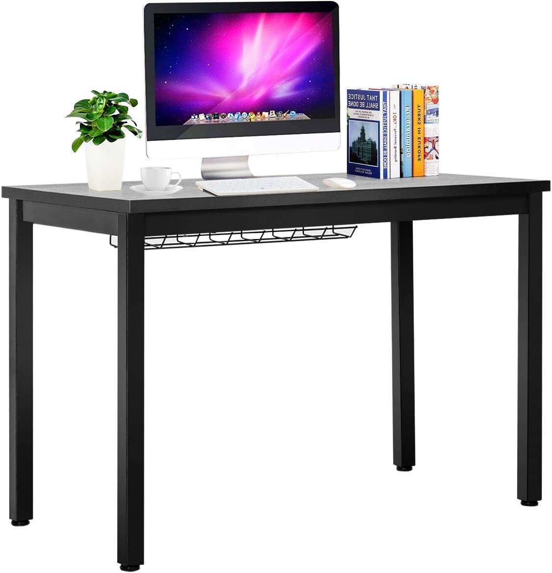 Tangkula Writing Desk, Computer Desk with Cable Organizer, Wood and Metal Study Workstation Modern Writing Table for Home and Office Black