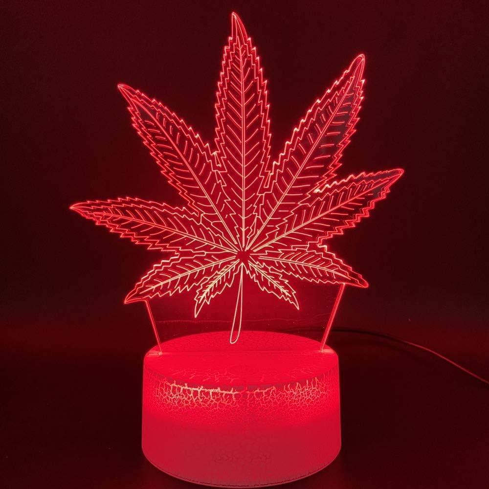Lámpara Led De Luz Nocturna 3D Botánica Cannabis Marihuana Oficina Bar Habitación Decorativa