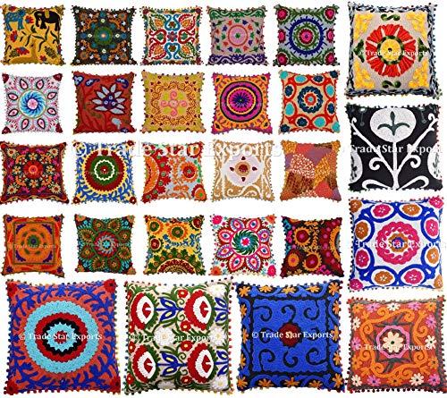 Trade Star Exports 20 Pcs Indian Suzani Cushion, Bohemian Pillow Cases, 16×16 Throw Pillows, Pom Pom Cushion Cover…