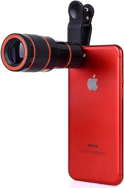 Youniker Lente de cámara de teléfono celular para iPhone 12X Zoom lente de teléfono universal con clip para iPhone 8/7/6 Plus Samsung Huawei LG y la mayoría de smartphones: Amazon.es: Electrónica