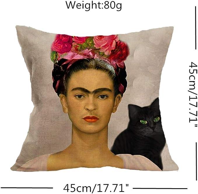 HACASO Frida Kahlo Funda de Almohada de Lino y algodón, Funda de ...