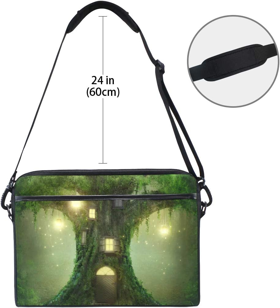IMOBABY Dream Forest Tree House Laptop Bag Canvas Messenger Shoulder Bag Briefcase Fits 15-15.4 inch