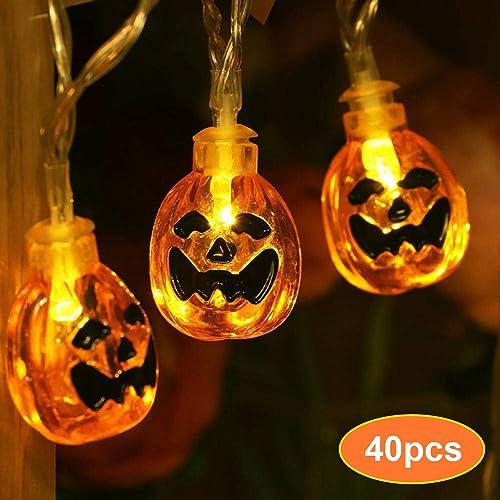 40 Pcs LED Halloween String Lights, MSDADA 3D Jack-O-Lantern Pumpkin Lights, 13.6 Feet Steady Flashing Battery Operated LED Fairy String Lights,Halloween Decorations for Indoor Outdoor Warm White