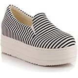 Summerwhisper Women's Striped Elastic Platform Canvas Shoes Slip on Loafers Low Top Sneakers