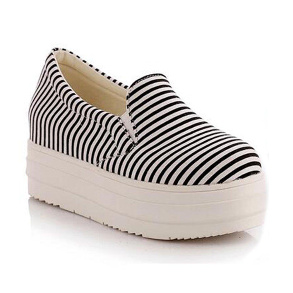 Summerwhisper Women's Striped Elastic Platform Canvas Shoes Slip on Loafers Low Top Sneakers B01D9PXP68 5 B(M) US|Black