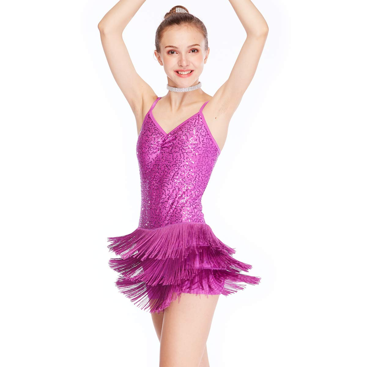 a25a3f06cd2a Amazon.com  MiDee Dance Costume Biketard Camisole Sequins Top with ...