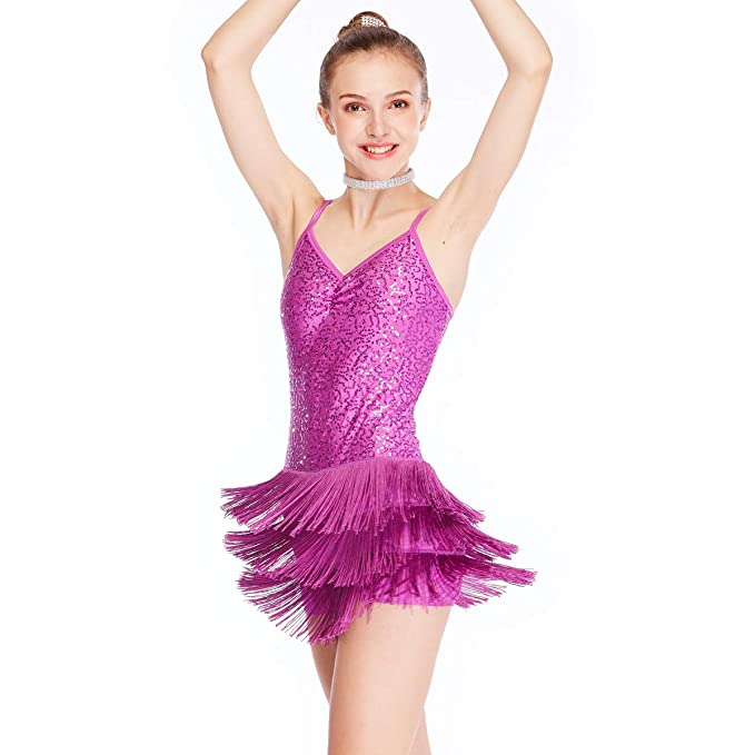214a952e1 MiDee Dance Costume Biketard Camisole Sequins Top with Fringes Skirt 4  Colors (LA, Magenta
