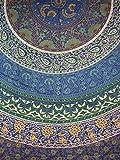 Indian Mandala Print Tapestry Cotton Bedspread 92'' x 82'' Full Blue