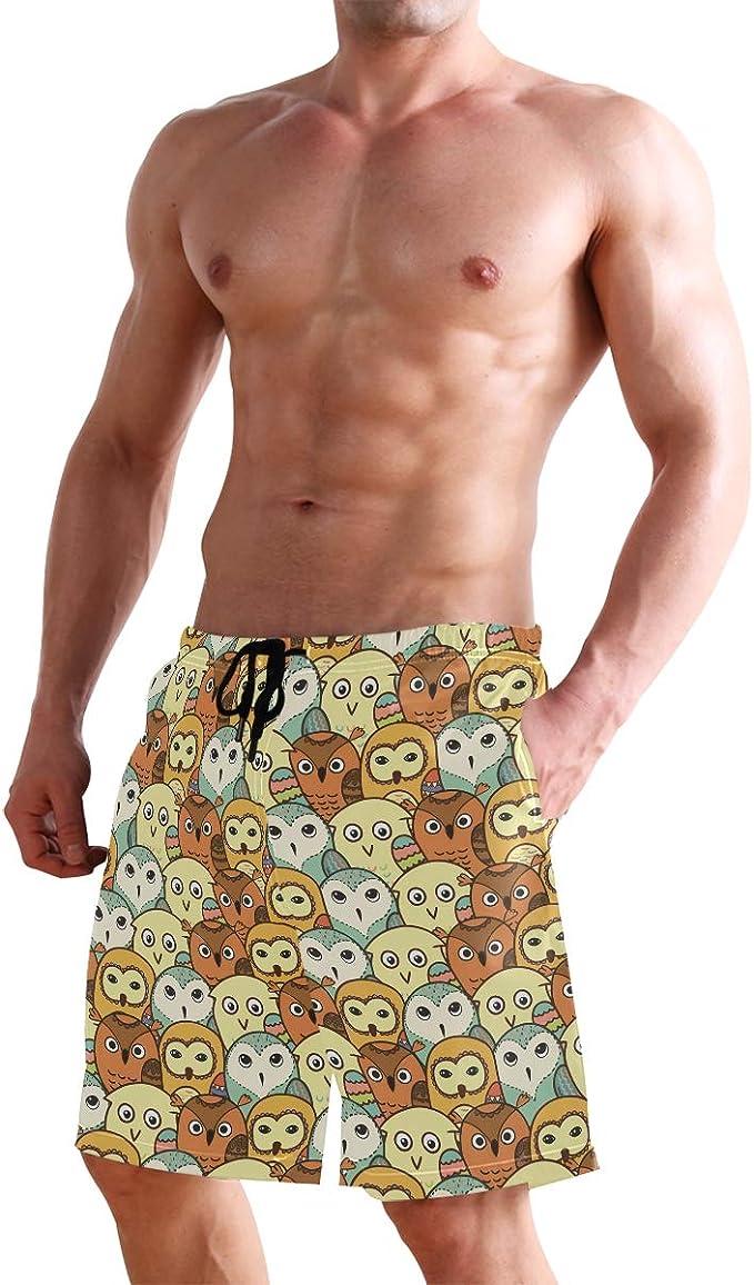 WIHVE Mens Beach Swim Trunks Funny Brown Monkey Yellow Banana Boxer Swimsuit Underwear Board Shorts with Pocket