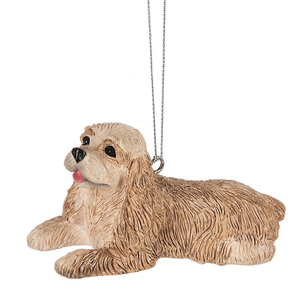 Cocker Spaniel Dog Tan 4 x 2 Inch Resin Christmas Ornament Figurine Midwest CBK