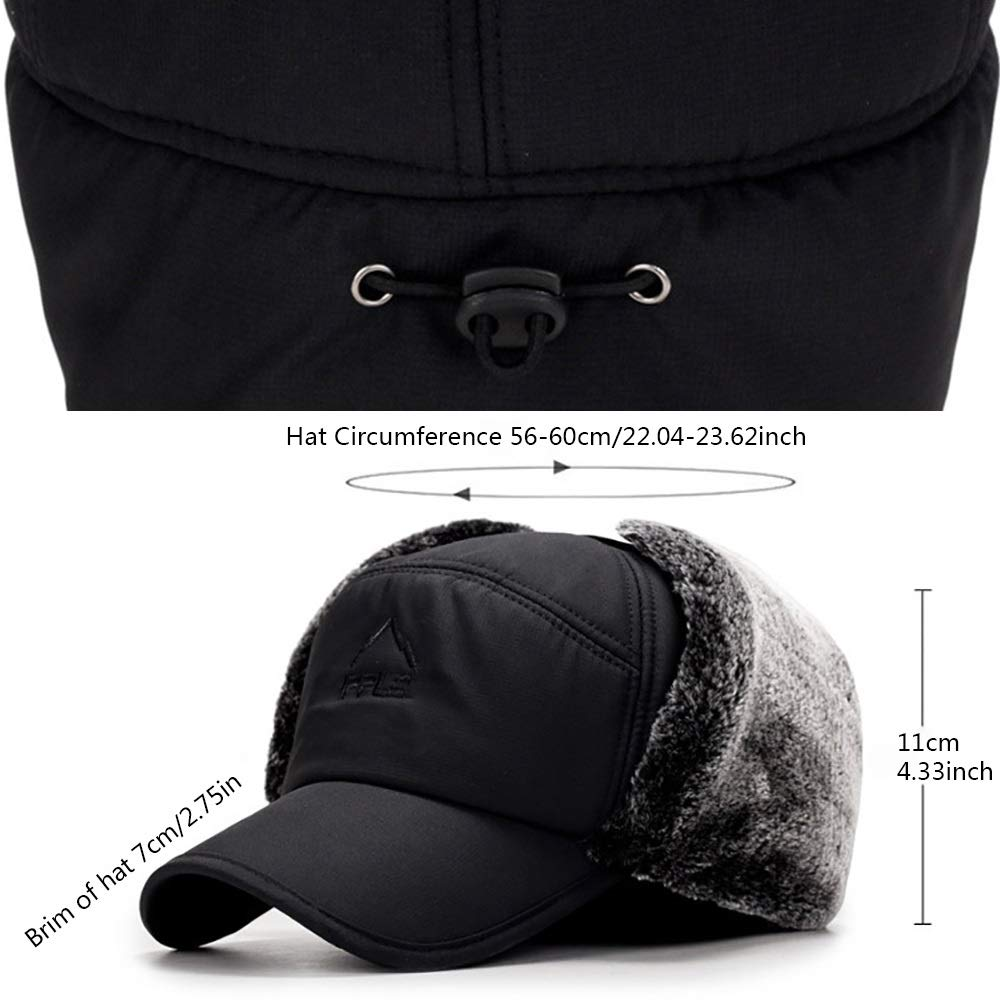 Cold Weather Thermal Caps Outdoor Men Cotton Hiking Cap Winter Ski Hat with Ear Flap and Detachable Windproof Mask Black