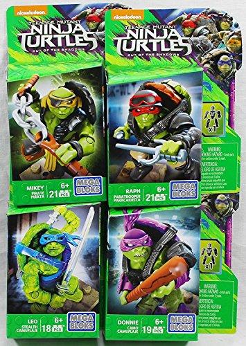 Set of 4: Mega Bloks Teenange Mutant Ninja Turtles Out of The Shadows Figures