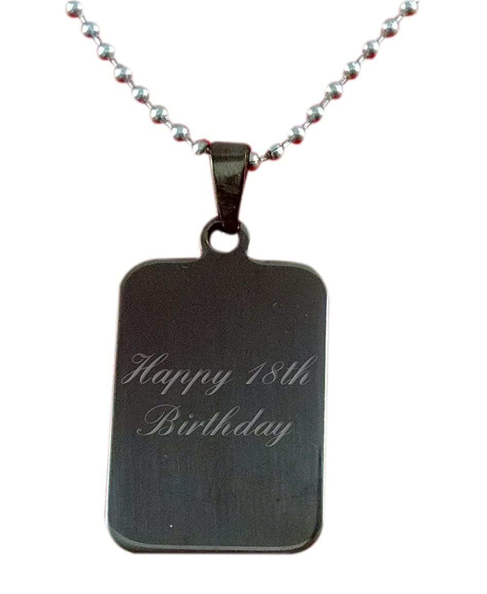 Custom In Gift Box C2 Luxury Engraved Gifts UK Mens Happy 18Th Birthday Pendant /& Chain Personalised