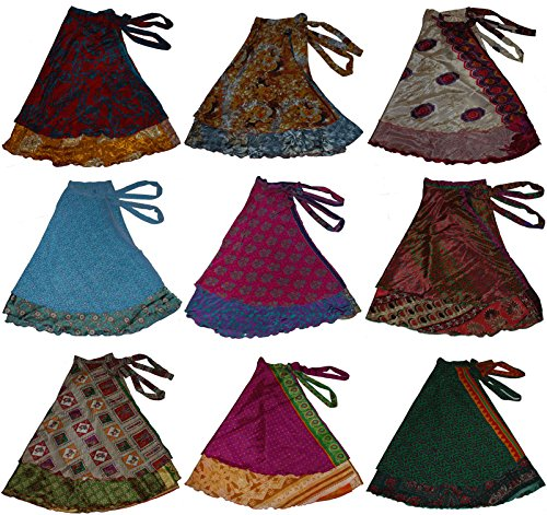 Wrap Indian Skirt - Wevez Pack of 3 Pcs Original Two Layer Printed Wrap Around Skirts (Long(36 Inches Length))