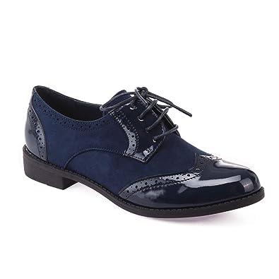 f47835f6a9d La Modeuse - Richelieu bi matière (Simili Cuir et Daim) Bleu Marine   Amazon.fr  Chaussures et Sacs