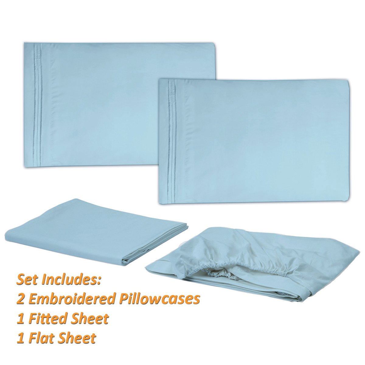 1500 Supreme Collection Extra Soft King Sheets Set, Light Blue - Luxury Bed Sheets Set With Deep Pocket Wrinkle Free Hypoallergenic Bedding, Over 40 Colors, King Size, Light Blue by Sweet Home Collection (Image #3)