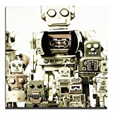 JP London 2in Thick Premium Huge Gallery Wrap Heavyweight Canvas Wall Art Retro Robot Machines Family 50in CNVSQL2358