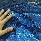 Shinybeauty sirena paillettes tessuto dal cantiere reversibile, scala di pesci, tessuto Two Face blu per fai da te sposa abito da sera Abito Custume Magic, paillettes federa, cuscino (0,9m), Two Face Blue, 0,9 m