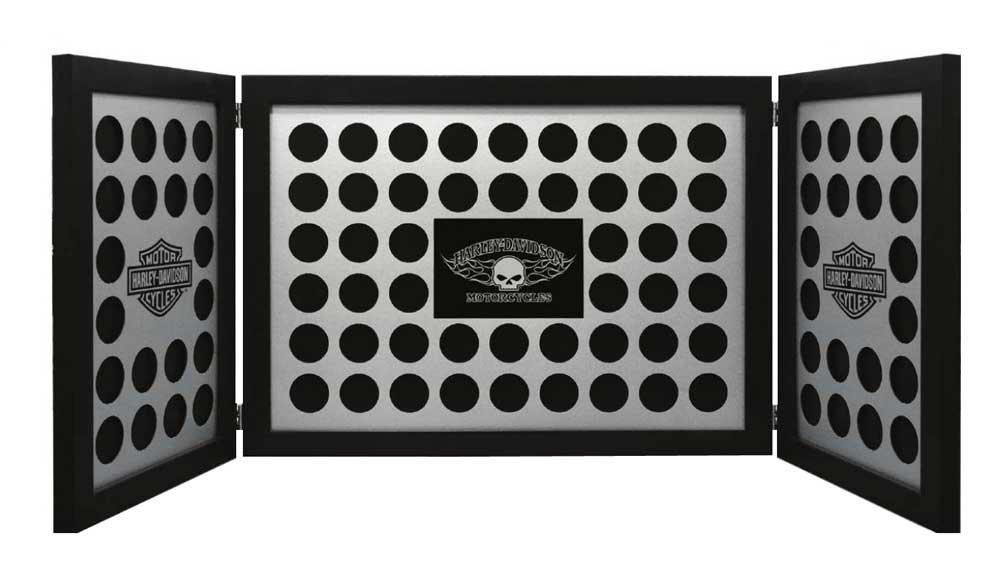 Harley-Davidson Tri-Fold Poker Chip Collectors Frame, Holds 88 Chips, Black 6973 by Harley-Davidson
